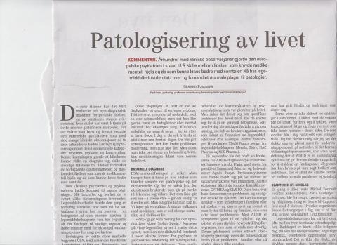 Faksimile av første halvdel av kommentaren «Patologisering av livet» fra Le Monde diplomatique, gjengitt med tillatelse
