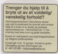 Annonse om kurs for kvinner i voldelige/vanskelige forhold