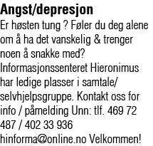 Annonse: Angst/depresjon: Selvhjelpsgruppe