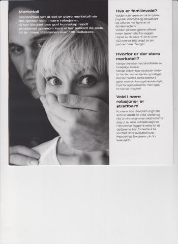 Brosjyre om kurs for kvinner i voldelige og vanskelige forhold